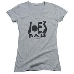 Battlestar Galactica - Juniors Joes Bar Logo V-Neck T-Shirt