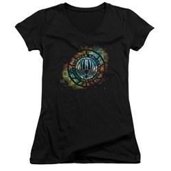Battlestar Galactica - Juniors Emblem Knock-Out V-Neck T-Shirt
