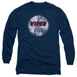 Battlestar Galactica - Mens War Torn Viper Logo Long Sleeve T-Shirt