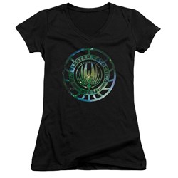 Battlestar Galactica - Juniors Galaxy Emblem V-Neck T-Shirt