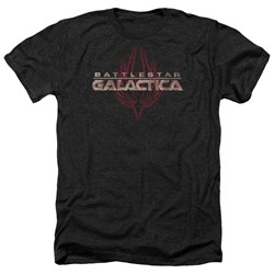 Battlestar Galactica - Mens Logo With Phoenix Heather T-Shirt