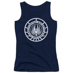 Battlestar Galactica - Juniors Scratched Bsg Logo Tank Top