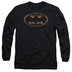 Batman - Mens Black & Gold Embossed Long Sleeve T-Shirt