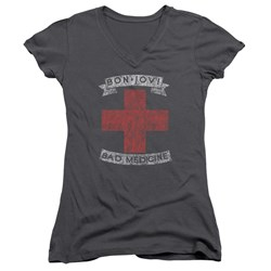 Bon Jovi - Juniors Bad Medicine V-Neck T-Shirt