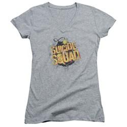 Suicide Squad - Juniors Vintage Bomb V-Neck T-Shirt