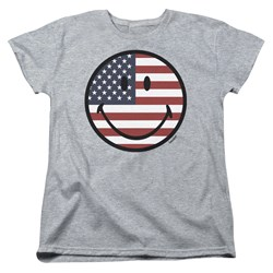 Smiley World - Womens American Flag Face T-Shirt