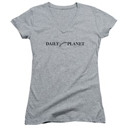 Superman - Juniors Daily Planet Logo V-Neck T-Shirt