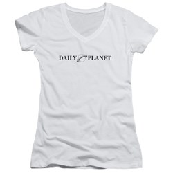 Superman - Juniors Daily Planet Logo V-Neck T-Shirt