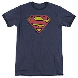 Superman - Mens Distressed Shield Ringer T-Shirt