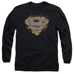 Superman - Mens Steel Fire Shield Long Sleeve T-Shirt