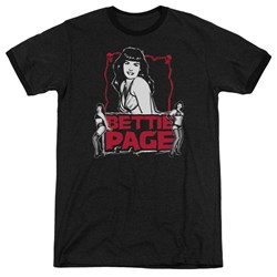 Bettie Page - Mens Bettie Scary Hot Ringer T-Shirt
