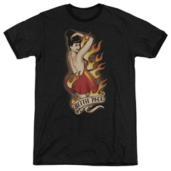 Bettie Page - Mens Devil Tattoo Ringer T-Shirt