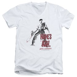 Army Of Darkness - Mens Names Ash V-Neck T-Shirt