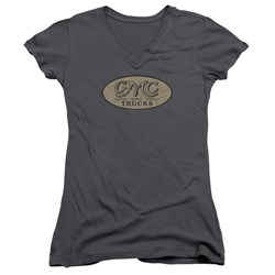 GMC - Juniors Vintage Oval Logo V-Neck T-Shirt