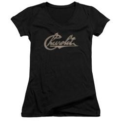 Chevrolet - Juniors Chevy Script V-Neck T-Shirt