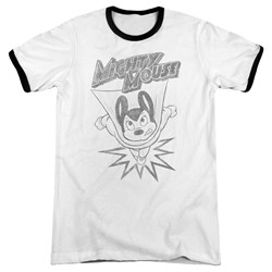 Mighty Mouse - Mens Bursting Out Ringer T-Shirt