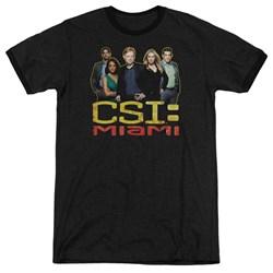 Csi Miami - Mens The Cast In Black Ringer T-Shirt