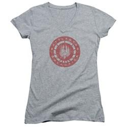Battlestar Galactica - Juniors Eroded Logo V-Neck T-Shirt