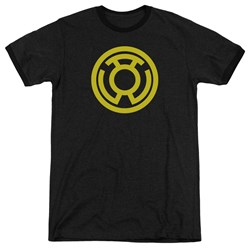 Green Lantern - Mens Yellow Emblem Ringer T-Shirt