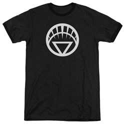 Green Lantern - Mens White Emblem Ringer T-Shirt