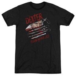 Dexter - Mens Blood Never Lies Ringer T-Shirt