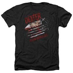 Dexter - Mens Blood Never Lies Heather T-Shirt