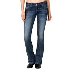 Miss Me - Womens Blue Chevron Bootcut Jeans