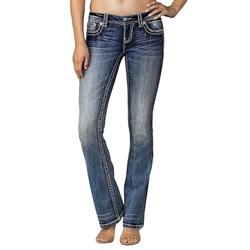 Miss Me - Womens Big Stitch Pocket Flap Bootcut Jeans