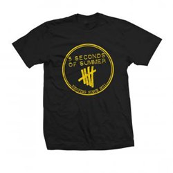 5 Seconds Of Summer - Mens Yellow Derping Stamp T-Shirt