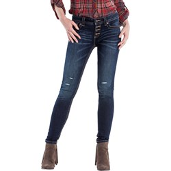 Miss Me - Womens Dark Wash Mid-Rise Skinny Jeans