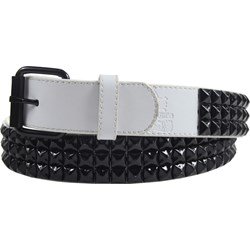 White 3 row pyramid studded leather belt W/ black studs