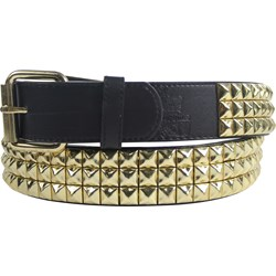 Triple Row Studded Syn Leather Belt in Black/Gold by BodyPunks