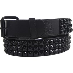 Black 3 row pyramid studded leather belt W/ black studs