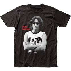 John Lennon - Mens Nyc B&W Fitted T-Shirt