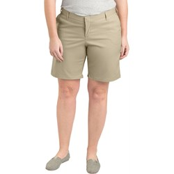 """Dickies - Womens Plus Size RW221 9"""" Flat Front Shorts"""