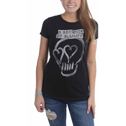 5 Seconds Of Summer - Womens Heart Skull Silver T-Shirt
