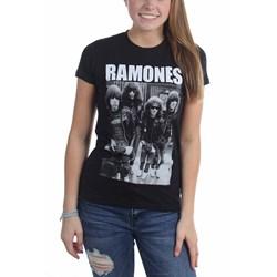Ramones - Womens Band Photo Logo T-Shirt