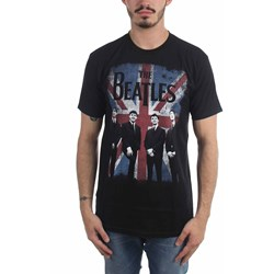 The Beatles - Mens Union Jack Photo Distressed T-Shirt