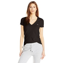 Lacoste Women's Short-Sleeve Cotton Jersey V-Neck T-Shirt