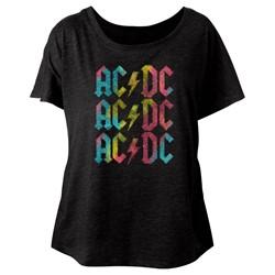 Ac/Dc - Womens Multicolor Triblend Dolman T-Shirt