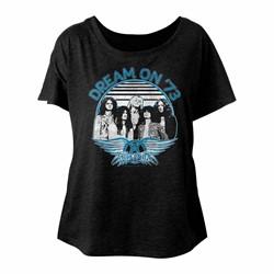 Aerosmith - Womens Dream On Blue & White Triblend Dolman T-Shirt