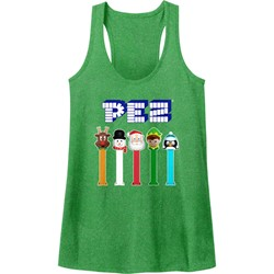 Pez - Womens Christmas Pez Heather Racerback Tank