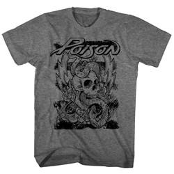 Poison - Mens Skull Snake Lightning T-Shirt