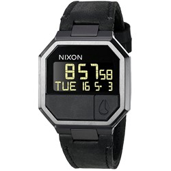 Nixon Men's Re-Run Leather Digital Watch