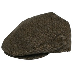 Hooligan Hat in Brown/Khaki Herringbone Twill by Brixton