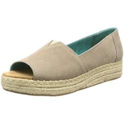 Toms - Women's Open Toe Platform Alpargata Desert Taupe Suede Sandal