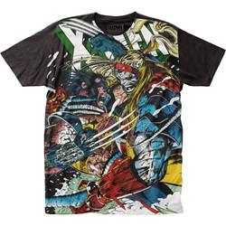 91797949d X-Men - Mens Wolverine Vs Omega Big Print Subway T-Shirt