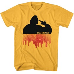 Taxi Driver Mens Silhouette Over City T-Shirt