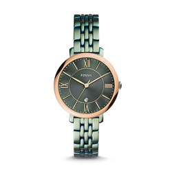 Fossil Women's Jacqueline Three-Hand Date Alpine Green Stainless Steel Watch (Model: ES4323)