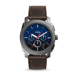 Fossil Men's Machine Chronograph Gray Leather Watch (Model: FS5388)